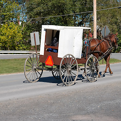 "Bellville, PA, USA - September 27, 2014: A ""white-topper"" Amish buggy used by a member of the Byler Amish in Kishacoquillas Valley."