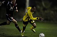 Fotball<br /> 11. Februar 2011 <br /> Treningskamp<br /> Campoamor , Spania<br /> Lillestrøm - Rubin Kazan 1 - 1<br /> Medvedev Aleksei (L) , Rubin Kazan<br /> Mathis Bolly (R) , Lillestrøm<br /> Foto: Astrid M. Nordhaug