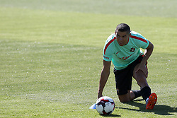 June 7, 2017 - Lisbon, Portugal - Portugal's forward Cristiano Ronaldo stretches  during a training session at ''Cidade do Futebol'' (Football City) training camp in Oeiras, outskirts of Lisbon on June 7, 2017, ahead of the FIFA World Cup Russia 2018 qualifier match Latvia vs Portugal. Photo: Pedro Fiuza. (Credit Image: © Pedro Fiuza via ZUMA Wire)