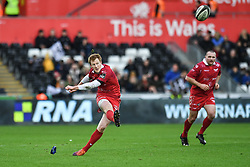 Rhys Patchell of Scarlets kicks a penalty<br /> <br /> Photographer Craig Thomas/Replay Images<br /> <br /> Guinness PRO14 Round 11 - Ospreys v Scarlets - Saturday 22nd December 2018 - Liberty Stadium - Swansea<br /> <br /> World Copyright © Replay Images . All rights reserved. info@replayimages.co.uk - http://replayimages.co.uk