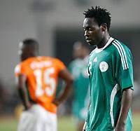 Photo: Steve Bond/Richard Lane Photography.<br /> Nigeria v Ivory Coast. Africa Cup of Nations. 21/01/2008. Apam Onyekachi of Nigeria contemplates defeat