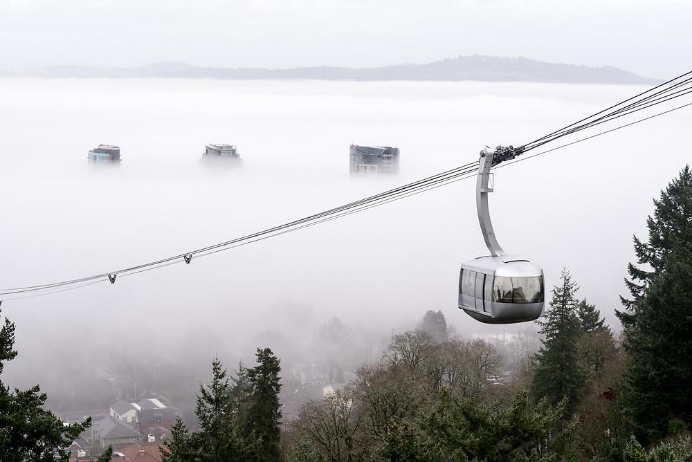 Portland aerial tram and fog, Portland, Oregon.