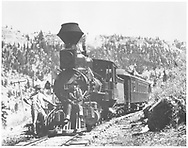 """RGS 2-8-0 #19 with inspection train posing at Keystone.<br /> RGS  Keystone, CO  Taken by Beam, George L. - ca 1912<br /> In book """"RGS Story, The Vol. X: Over the Bridges? Ridgway to Durango"""" page 204<br /> D&RGW #8422 Book 28 Historical page 33."""