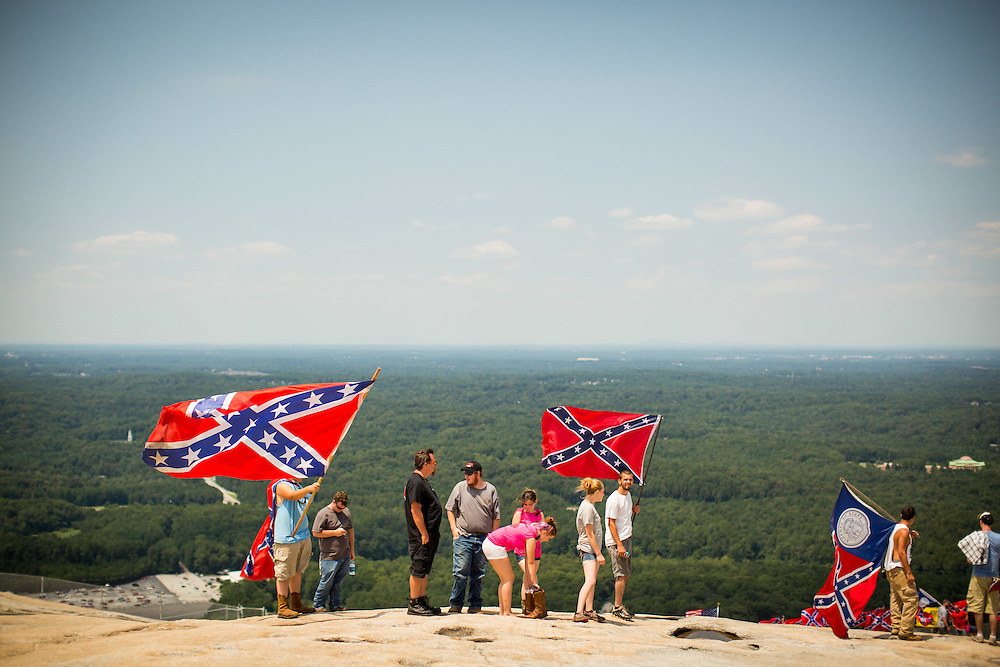 People participating in Confederate flag rally on top of Stone Mountain on Saturday, Aug. 1, 2015. Photo by Kevin D. Liles/kevindliles.com