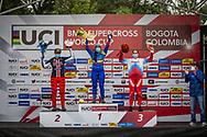 2021 UCI BMXSX World Cup<br /> Round 4 at Bogota (Colombia)<br /> Podium<br /> ^we#100 PAJON, Mariana (COL, WE) GW, Nologo, 100%, Shimano, Red Bull, AnswerBMX<br /> ^we#215 RIDENOUR, Payton (USA, WE) Mongoose, E6 Wheels<br /> ^we#116 AFREMOVA, Natalia (RUS, WE) Chase, Team_RUS