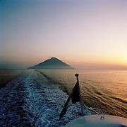 Island of Stromboli from a boat, Aeolian Islands, Italy