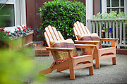 Wood Adirondack Chairs on the Patio
