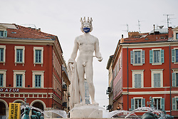 Statues taking COVID19 seriously at the 2020 La Course By Le Tour with FDJ, a 96 km road race in Nice, France on August 29, 2020. Photo by Sean Robinson/velofocus.com