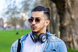 Adam Dean, 23 from Leytonstone in East London gives his views on Brexit on Clapham Common in South London. London, March 24 2019.