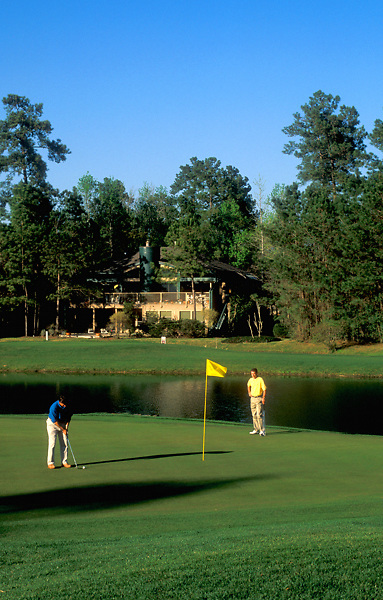 Stock photo of a man on the green preparing to make his putt