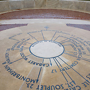 An orientation table at the Bellicourt American Monument that commemorates the achievements and sacrifices of the 90,000 American troops who served in battle with the British Armies in France during 1917 and 1918. Bellicourt, Picardy, France.
