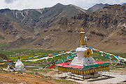 A Buddhist stupa above the Dingha Valley, Tibet.