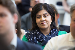 © Licensed to London News Pictures. 25/05/2016. LONDON, UK. BARONESS SAYEEDA WARSI in the audience at a speech by STEVE HILTON, a former adviser and policy guru to David Cameron, about the European Union (EU), Brexit and Tory modernisation at The Policy Exchange in Westminster. Hilton is in favour of Brexit, believing the Prime Minister is wrong to urge voters to remain in the EU.  Photo credit: Vickie Flores/LNP