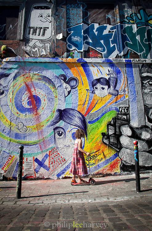 Street art seen in the bohemian neighbourhood of Belleville in Paris, France