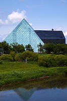 Hidamari Glass Pyramid at Moerenuma Park in Sapporo. The park was designed by Isamu Noguchi and won the Good Design Award in 2002.  The park is to be considered as one complete sculpture rather than each object or sculpture piece by piece. The symbol of the park is a glass pyramid with the name Hidamari.