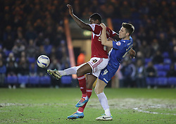 Peterborough United's Shaun Brisley in action with Bristol City's Jay Emmanuel-Thomas - Photo mandatory by-line: Joe Dent/JMP - Mobile: 07966 386802 11/03/2014 - SPORT - FOOTBALL - Peterborough - London Road Stadium - Peterborough United v Bristol City - Sky Bet League One