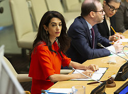 September 28, 2018 - New York, New York, United States - Amal Clooney attends side event Press behind bars during 73rd UNGA session at United Nations Headquarters (Credit Image: © Lev Radin/Pacific Press via ZUMA Wire)