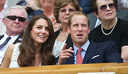27.06.2011, Wimbledon, London, GBR, ATP World Tour, Wimbledon Tennis Championships, im Bild Newlyweds Kate Middleton and William Windsor, aka the Duke and Duchess of Cambridge, during the Gentlemen's Singles 4th Round match on day seven of the Wimbledon Lawn Tennis Championships at the All England Lawn Tennis and Croquet Club. EXPA Pictures © 2011, PhotoCredit: EXPA/ Propaganda/ David Rawcliffe +++++ ATTENTION - OUT OF ENGLAND/UK +++++ // SPORTIDA PHOTO AGENCY