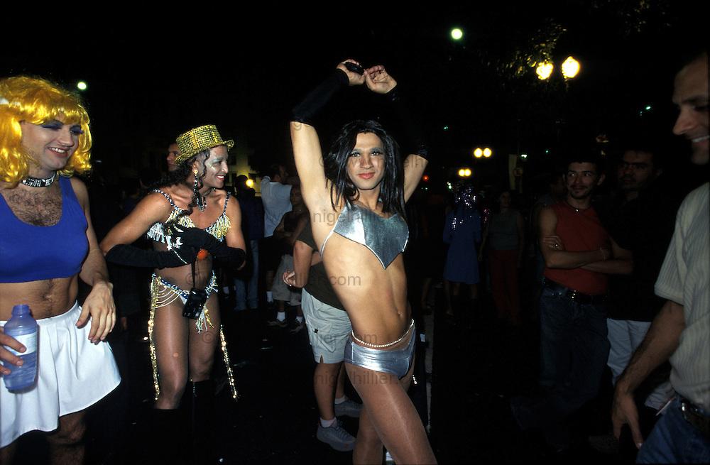 Brazil,Sao Paolo,Praca De Republica.Gay Festival. man/transvestite in bikini