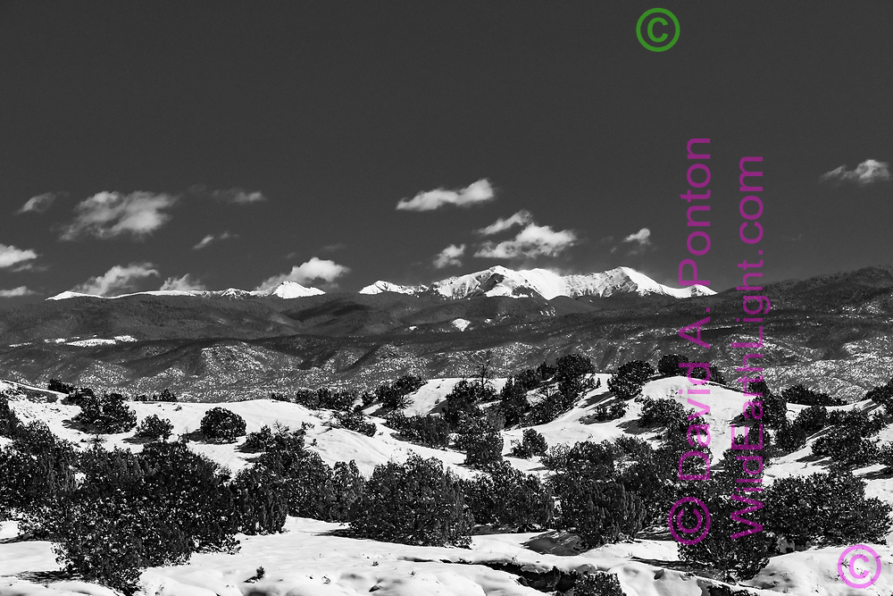 New snow on Truchas Peaks in the Sangre de Cristo Mountains with snowy junipers hills in the Pojoaque Valley, New Mexico, © David A. Ponton