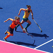Action during the Australia V Holland women's hockey warm up match on the main hockey arena at Olympic Park, Stratford during the London 2012 Olympic games preparation at the London Olympics. London, UK. 22nd July 2012. Photo Tim Clayton