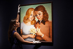 © licensed to London News Pictures. London, UK 21/06/2013. 'Daughter and Mother' by John Currin estimated to be sold for £1,400,000-1,800,000 in Christie's upcoming Post-War & Contemporary Art Evening Auction which will take place on June 25, 2013. Auction features with works by Basquiat, Doig, Liechtenstein and Warhol and total estimate is £56-72 million. Photo credit: Tolga Akmen/LNP
