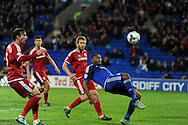 Cardiff city's Kagisho Dikgacoi stretches to keep the ball in play. Skybet football league championship match, Cardiff city v Middlesbrough at the Cardiff city Stadium in Cardiff, South Wales  on Tuesday 20th October 2015.<br /> pic by  Andrew Orchard, Andrew Orchard sports photography.
