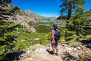Hiker on the Fern Lake Trail, Inyo National Forest, June Lake, California USA