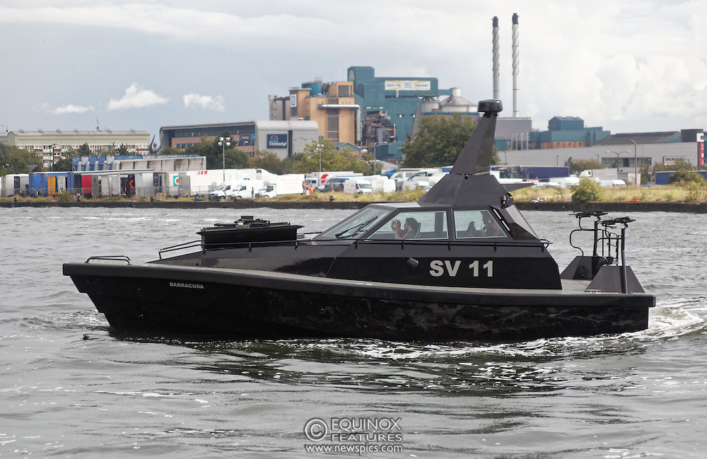 London, United Kingdom - 18 September 2015<br /> Safehaven Marine demonstrate their SV11 Barracuda stealth boat with front mounted retractable gun and radar avoidance technology at Operation MARICAP waterborne demonstration at the defence and security exhibition DSEI at ExCeL, Woolwich, London, England, UK.<br /> (photo by: EQUINOXFEATURES.COM)<br /> <br /> Picture Data:<br /> Photographer: Equinox Features<br /> Copyright: ©2015 Equinox Licensing Ltd. +448700 780000<br /> Contact: Equinox Features<br /> Date Taken: 20150918<br /> Time Taken: 14342388<br /> www.newspics.com