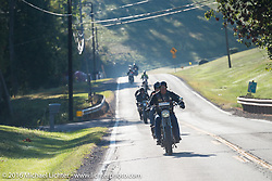 Rowdy Schenck of Texas riding his 1915 Harley-Davidson during the Rowdy Schenck of NM riding his 1915 Harley-Davdison during the Motorcycle Cannonball Race of the Century. Stage-3 from Morgantown, WV to Chillicothe, OH. USA. Monday September 12, 2016. Photography ©2016 Michael Lichter.