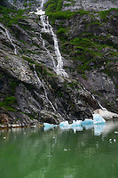 Waterfall & Icebergs, Tracy Arm Fjord