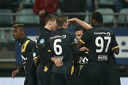 (L-R) Thierry Ambrose of NAC Breda, Karol Mets of NAC Breda, Arno Verschueren of NAC Breda, Mounir El Allouchi of NAC Breda, Sadiq Umar of NAC Breda during the Dutch Eredivisie match between ADO Den Haag and NAC Breda at Cars Jeans stadium on March 10, 2018 in The Hague, The Netherlands