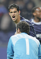 """PORTUGAL - PORTO 23 FEBRUARY 2005: RICARDO COSTA Moreira #5 celebrates his goal looking to FRANCESCO TOLDO #1, in the First Knock-out Round First Leg of the UEFA Champions League, match FC Porto (1) vs FC Internazionale (1), held in """"Dragao"""" stadium  23/02/2005  21:02:10<br />(PHOTO BY: NUNO ALEGRIA/AFCD)<br /><br />PORTUGAL OUT, PARTNER COUNTRY ONLY, ARCHIVE OUT, EDITORIAL USE ONLY, CREDIT LINE IS MANDATORY AFCD-PHOTO AGENCY 2004 © ALL RIGHTS RESERVED"""