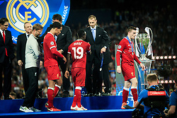 UEFA President Aleksander Ceferin gives Sadio Mané of Liverpool his runners up medal after the UEFA Champions League Final between Real Madrid and Liverpool at NSC Olimpiyskiy Stadium on May 26, 2018 in Kiev, Ukraine. Photo by Sandi Fiser / Sportida