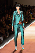Blue-green satin pants  with matching tailored jacket in satin.