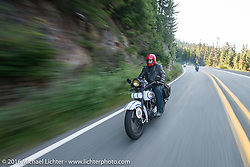 Michael Gontesky riding his 1928 Harley-Davidson JD during Stage 16 (142 miles) of the Motorcycle Cannonball Cross-Country Endurance Run, which on this day ran from Yakima to Tacoma, WA, USA. Sunday, September 21, 2014.  Photography ©2014 Michael Lichter.