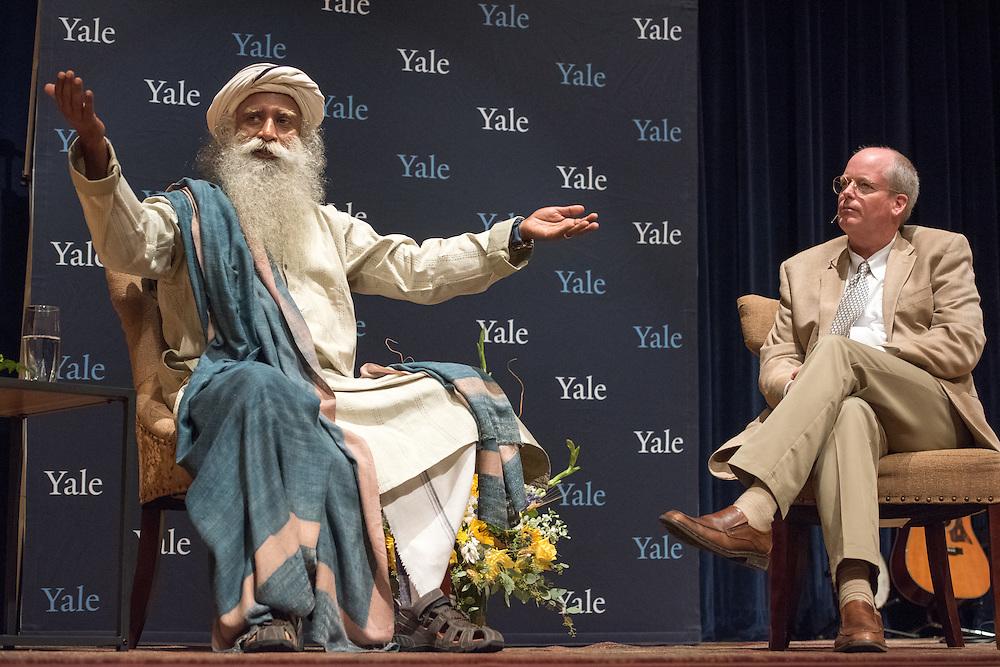 Photo by Mara Lavitt<br /> September 16, 2016<br /> Dr. Ben Doolittle in conversation with Sadhguru in Harkness Auditorium, Yale School of Medicine.