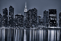 American Copper Buildings (left) & Empire State Building, Midtown (monochrome)