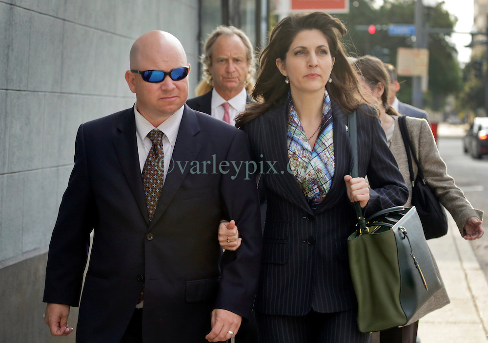 01 June  2015. New Orleans, Louisiana. <br /> Rita Benson LeBlanc and her brother Ryan LeBlanc leaving a court hearing to determine the competency of their grandfather Tom Benson. Benson is the billionaire owner of the NFL New Orleans Saints, the NBA New Orleans Pelicans, various Mercedes dealerships, banks, property assets and a slew of business interests. Rita, her brother and mother demanded a competency hearing after Benson changed his succession plans and decided to leave the bulk of his estate to third wife Gayle, sparking a controversial fight over control of the Benson business empire.<br /> Photo©; Charlie Varley/varleypix.com