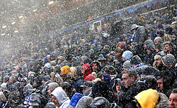 Birmingham City's snow covered fans in the stands