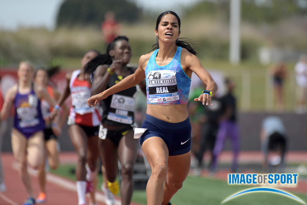 Apr 21, 2018; Torrance, CA, USA; Luisa Real (MEX) wins invitational women's 800m heat in 2:03.08 during the 60th Mt. San Antonio College Relays at Murdock Stadium.