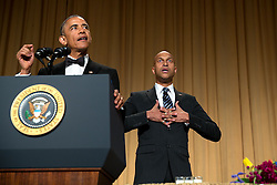 President Barack Obama delvers remarks with the help of comedic actor Keegan-Michael Key during the White House Correspondents' Association Dinner in Washington, D.C., April 25, 2015. (Official White House Photo by Lawrence Jackson)<br /> <br /> This official White House photograph is being made available only for publication by news organizations and/or for personal use printing by the subject(s) of the photograph. The photograph may not be manipulated in any way and may not be used in commercial or political materials, advertisements, emails, products, promotions that in any way suggests approval or endorsement of the President, the First Family, or the White House.