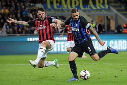 October 21, 2018 - Milan, Milan, Italy - Mauro Icardi #9 of FC Internazionale Milano in action during the serie A match between FC Internazionale and AC Milan at Stadio Giuseppe Meazza on October 21, 2018 in Milan, Italy. (Credit Image: © Giuseppe Cottini/NurPhoto via ZUMA Press)