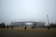 Thick fog covers The London stadium a few hours before k/o. Premier league match, West Ham Utd v Hull city at the London Stadium, Queen Elizabeth Olympic Park in London on Saturday 17th December 2016.<br /> pic by John Patrick Fletcher, Andrew Orchard sports photography.