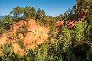 The ochre cliffs of Roussillon, in the Luberon region of Provence, France.