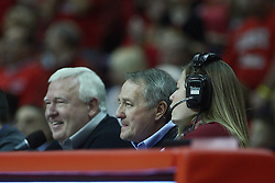 07 January 2012:  Redbird Arena announcers during an NCAA Missouri Valley Conference mens basketball game Where the Purple Aces of Evansville lost to the Illinois State Redbirds 75-73 in Redbird Arena, Normal IL
