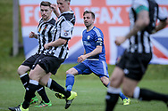 Kevin Roberts (Captain) (Halifax) watches his shot go in after he shoots and scores the first goal of the game. 1-0 to the home team during the Vanarama National League North Play Off final match between FC Halifax Town and Chorley at the Shay, Halifax, United Kingdom on 13 May 2017. Photo by Mark P Doherty.
