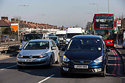 Trafiic on the North Circular, near the turning with the A105 Green Lanes, Harringay. London, UK.