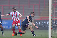 Stevenage forward Danny Newton(11) misses the target during the FA Cup match between Stevenage and Swansea City at the Lamex Stadium, Stevenage, England on 9 January 2021.