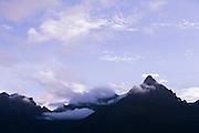 Mountain view seen from Machu Picchu at sunrise, Cusco Region, Urubamba Province, Machupicchu District in Peru, South America